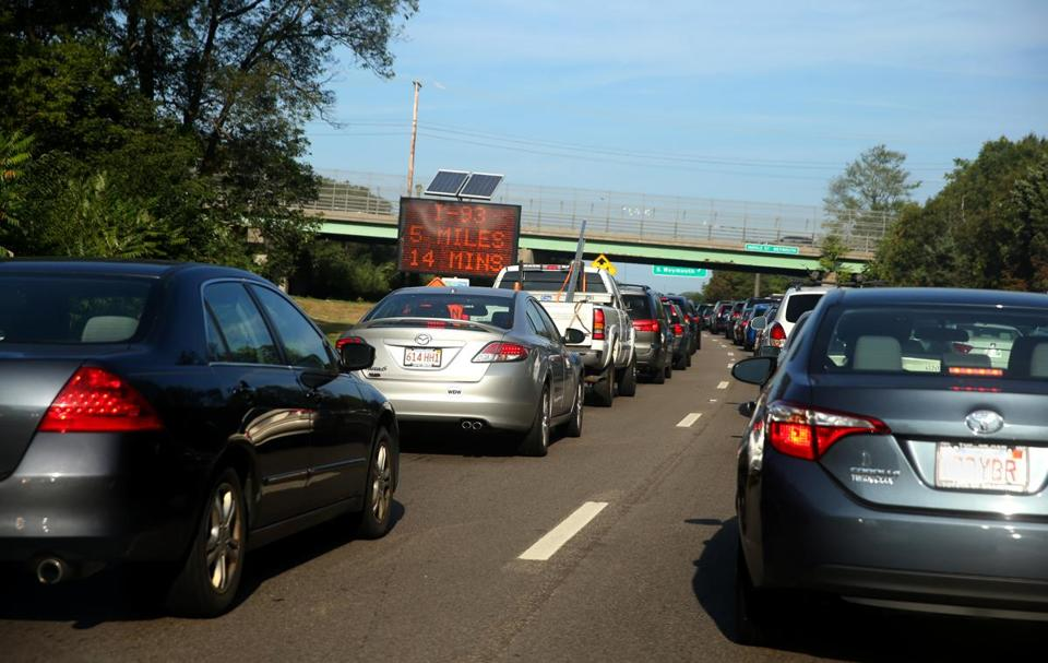 Northbound traffic on Route 3 slows to a crawl before the Braintree Split.