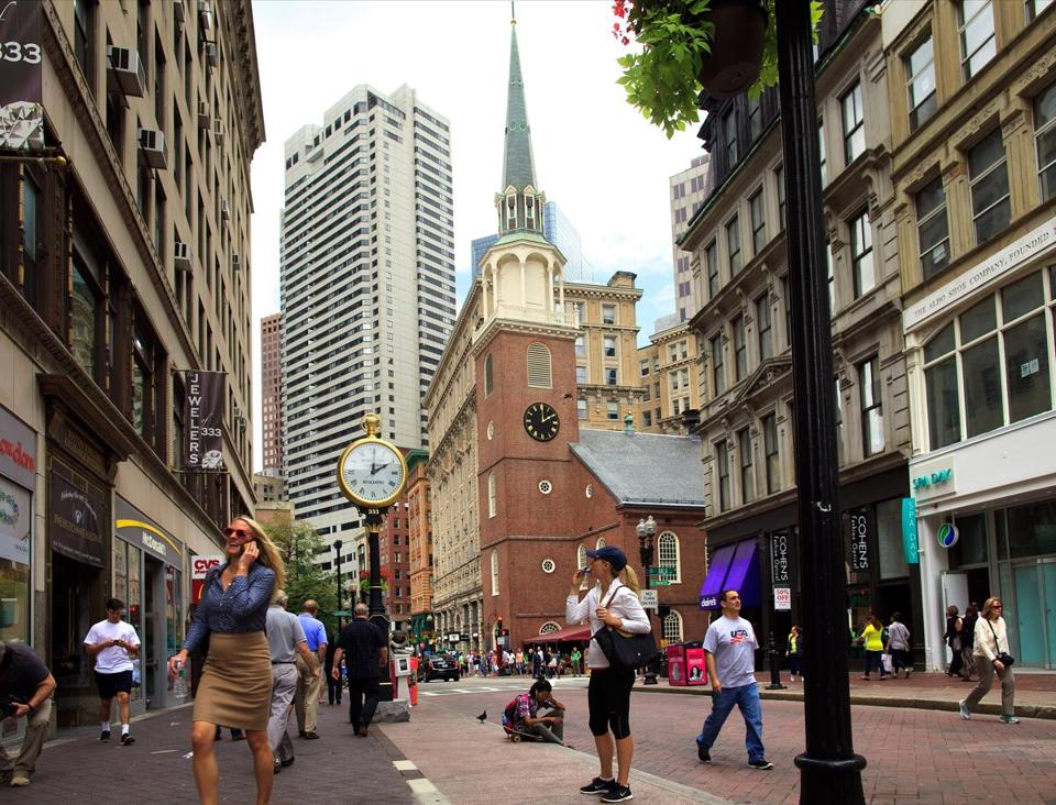 8/15/14 - Boston, MA - A view of the Old South Meeting house on Washington Street. Old and new styles of architecture abide side-by-side in Boston's Downtown Crossing. For ADDRESS feature on Downtown Crossing neighborhood of Boston, MA. Images shot on August 15, 2014.