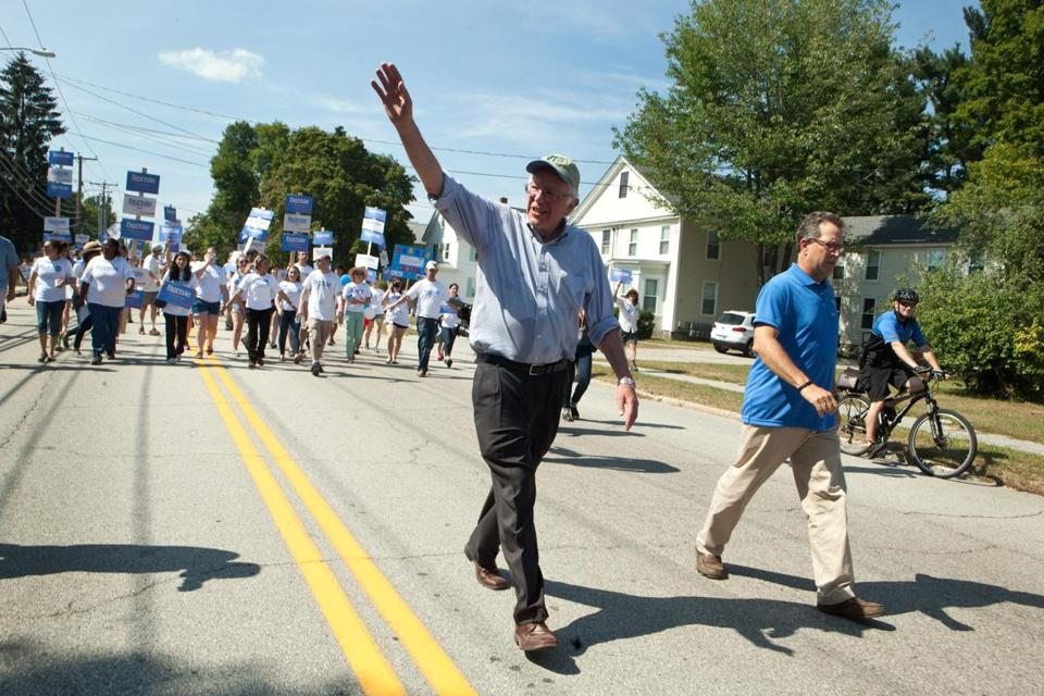 Democratic Presidential candidate Bernie Sanders greeted supporters at the Labor Day Parade on September 7.