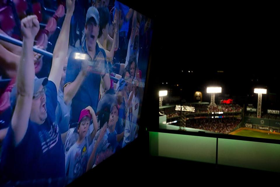 Fans screamed on a wide screen TV with the ballpark in the backround.