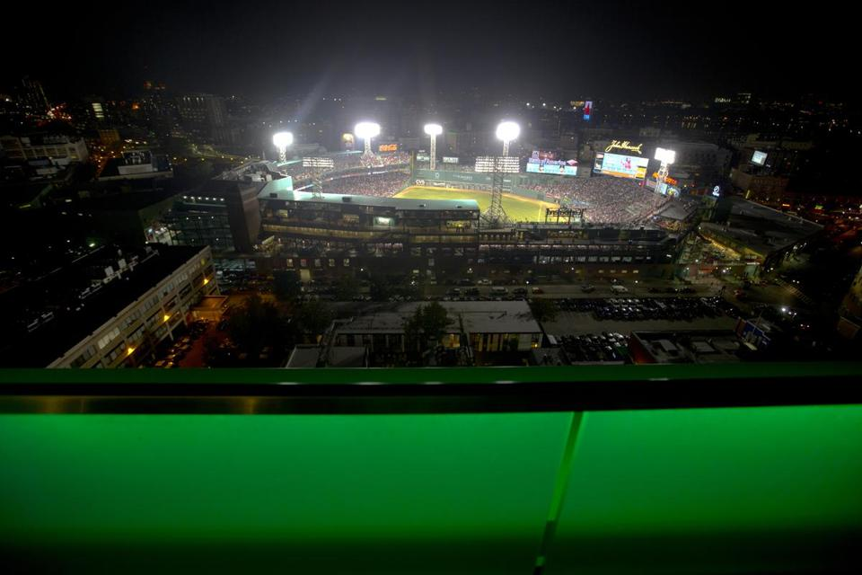The view of Fenway Park from 20th floor high Sky Deck at The Viridian.