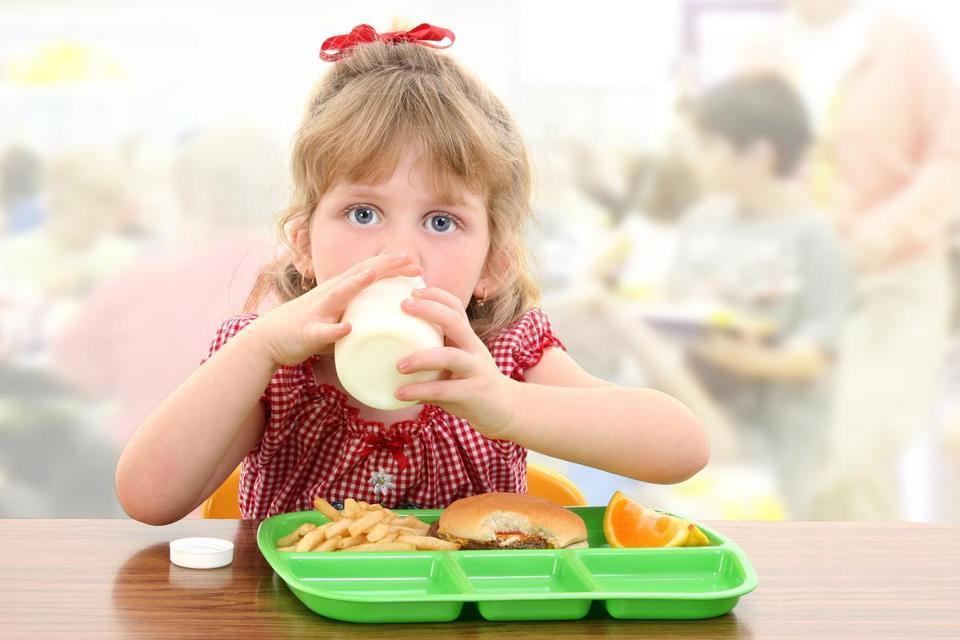 Elementary School Girl Child Having Cafeteria Lunch At Table