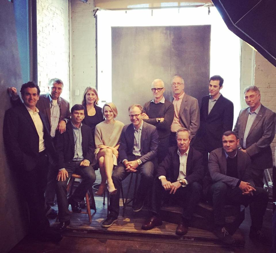 "From left: Brian d'Arcy James, Matt Carroll. Michael Rezendes, Sacha Pfeiffer, Rachel McAdams, director Tom McCarthy, John Slattery, Walter Robinson, Ben Bradlee Jr., ""Spotlight"" co-writer Josh Singer, Liev Schreiber, and Marty Baron."