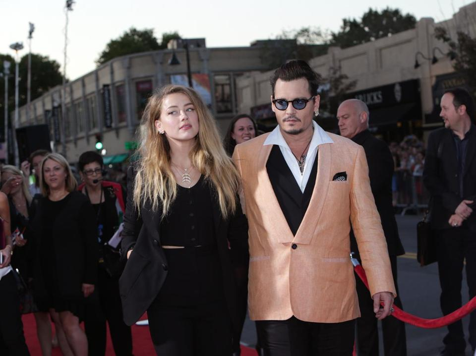 Brookline, MA - 09/15/15 - Three-time Oscar nominee Johnny Depp and wife? Amber Heard arrive for tonight's special screening. Black Mass stars walk the red carpet at the Coolidge Corner Movie Theater in Brookline, MA. - (Barry Chin/Globe Staff), Section: Lifestyle/Names, Reporter: Shanahan, Topic: 16mass, LOID: 8.1.3411282132.