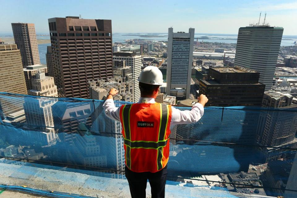 A view from floor 55 of the 60-story, $700 million Millennium Tower Boston, under construction in Downtown Crossing.