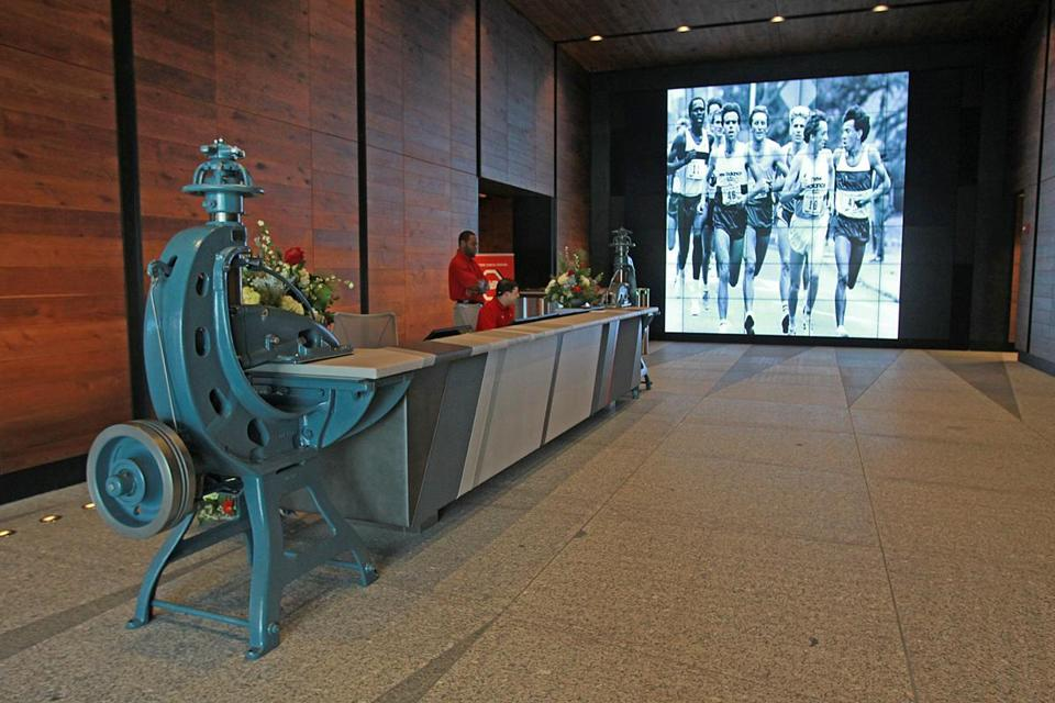 Boston, MA., 09/17/15, A tour of New Balance's new headquarters on Guest Street. The lobby area. Suzanne Kreiter/Globe staff