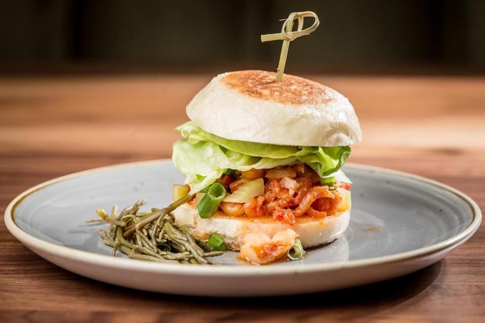 Warm Lobster Bun With Honey Miso Er And Pickled Sea Beans