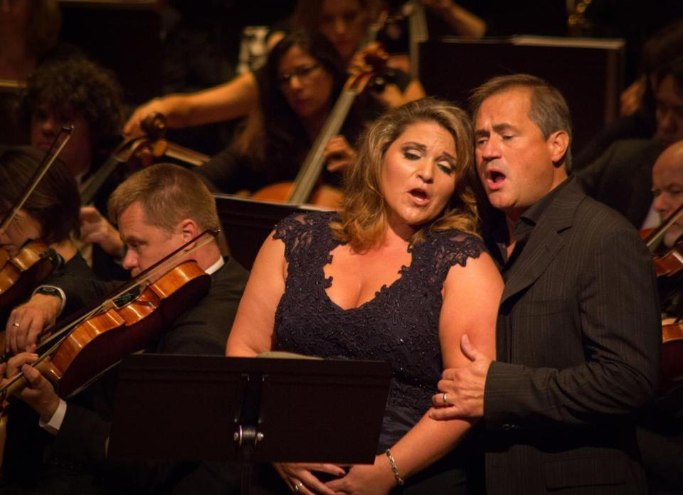 "Tamara Mancini and Paul Groves in Odyssey Opera's ""Le Cid,"" at Jordan Hall."