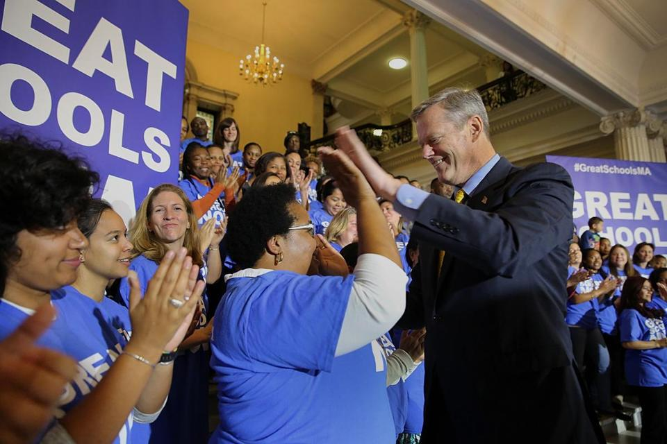 "Governor Charlie Baker greeted dozens of charter school supporters wearing ""Great Schools Now"" T-shirts Tuesday at a State House rally."