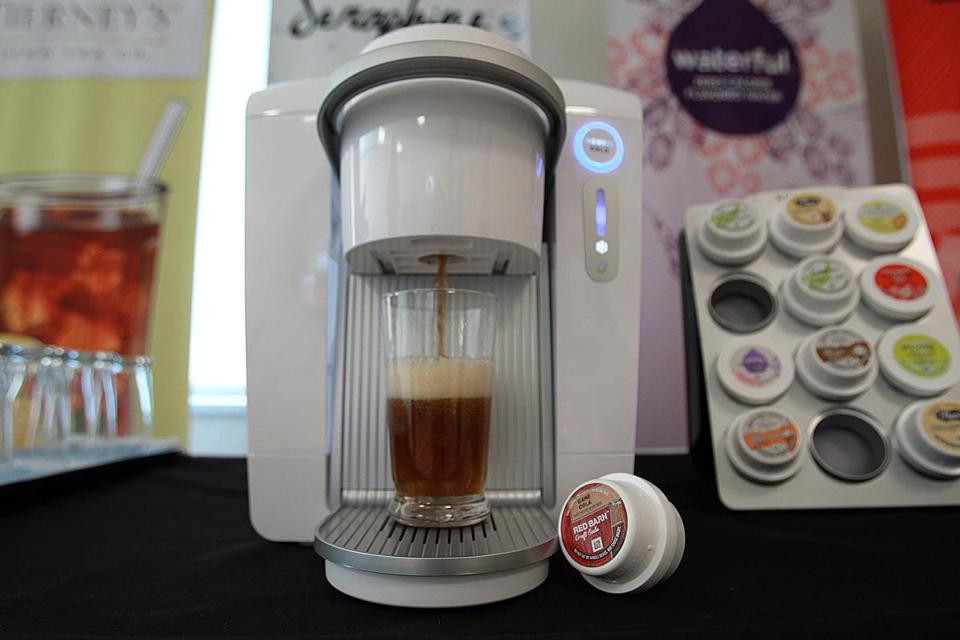 The Keurig Kold in action at Keurig Green Mountain Inc.'s Burlington offices.