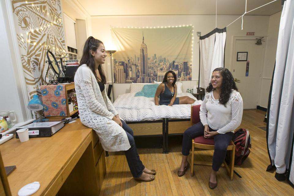 Harvard students (from left) Melody Gomez, Osaremen Okolo, and Andrea Delgado in their dorm room, the same one that Facebook founder Mark Zuckerberg lived in when he attended the university.