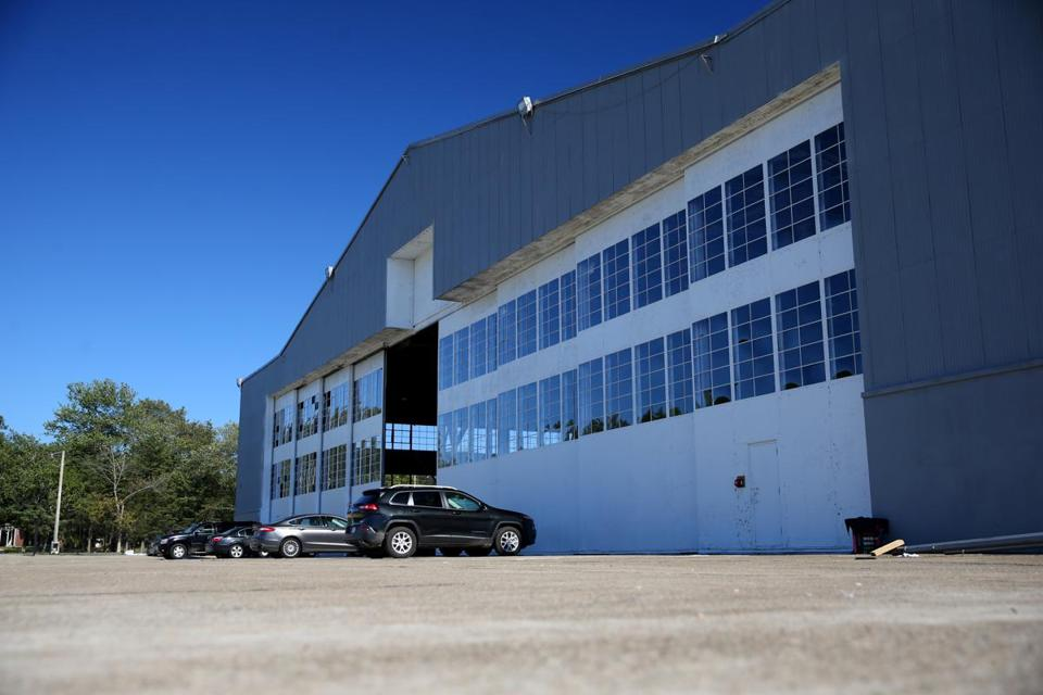 The last remaning airplane hangar at the former South Weymouth Naval Air Station has been used in movie-making.