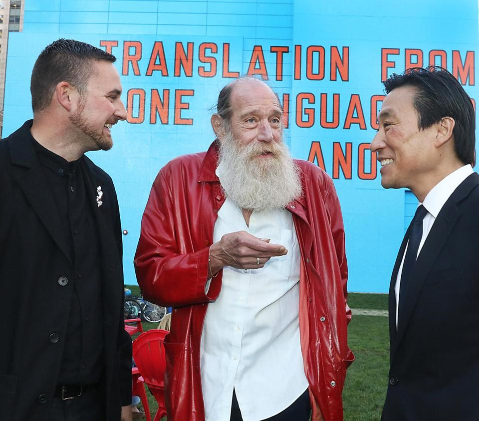 From left: Lucas Cowan, Lawrence Weiner, and Paul Ha at the Rose Kennedy Greenway.