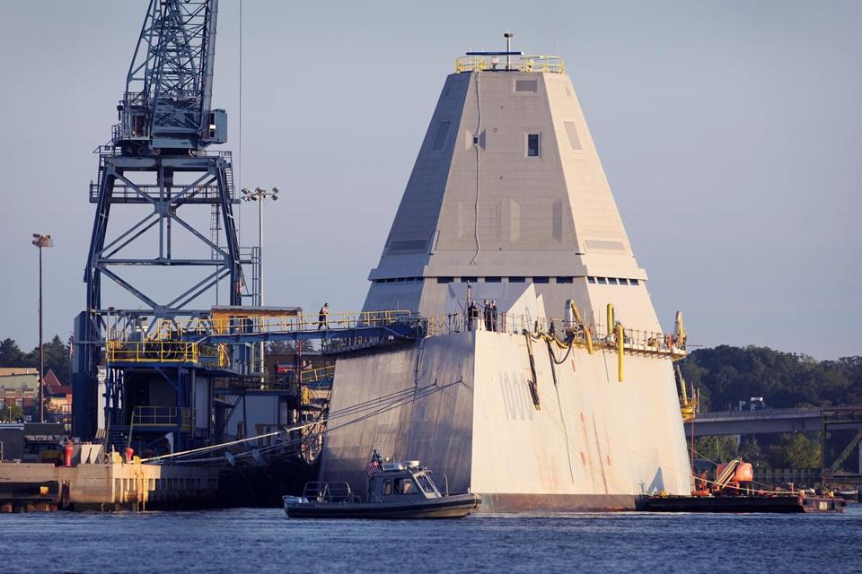 A high-tech Zumwalt-class destroyer is nearing completion at the Bath Iron Works in Maine.