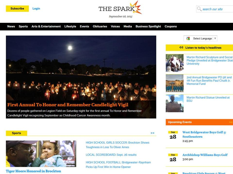A screenshot of The Spark, a new Brockton area hyperlocal news operation.