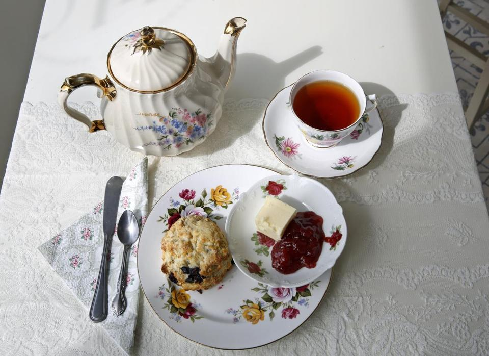 Adel Donegan's Vintage Tea and Cake Company offers tea place settings on vintage china, scones, lemon squares, and more.