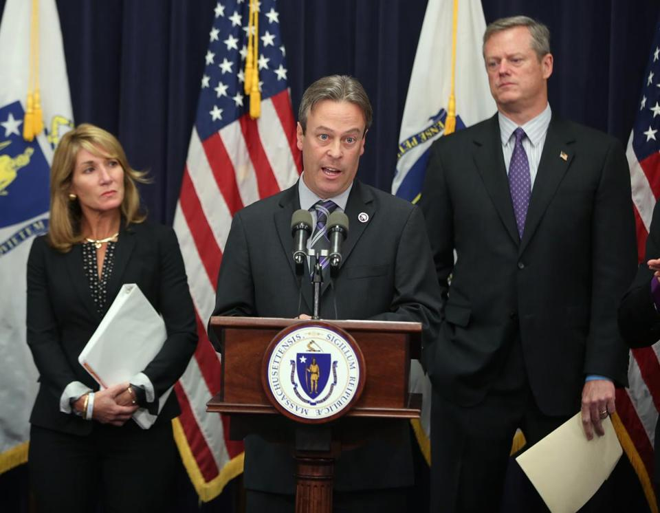 Peter MacKinnon, social worker and DCF president SEIU Local 509, spoke at a press conference along with Governor Charlie Baker (right) and Lieutenant Governor Karyn Polito.
