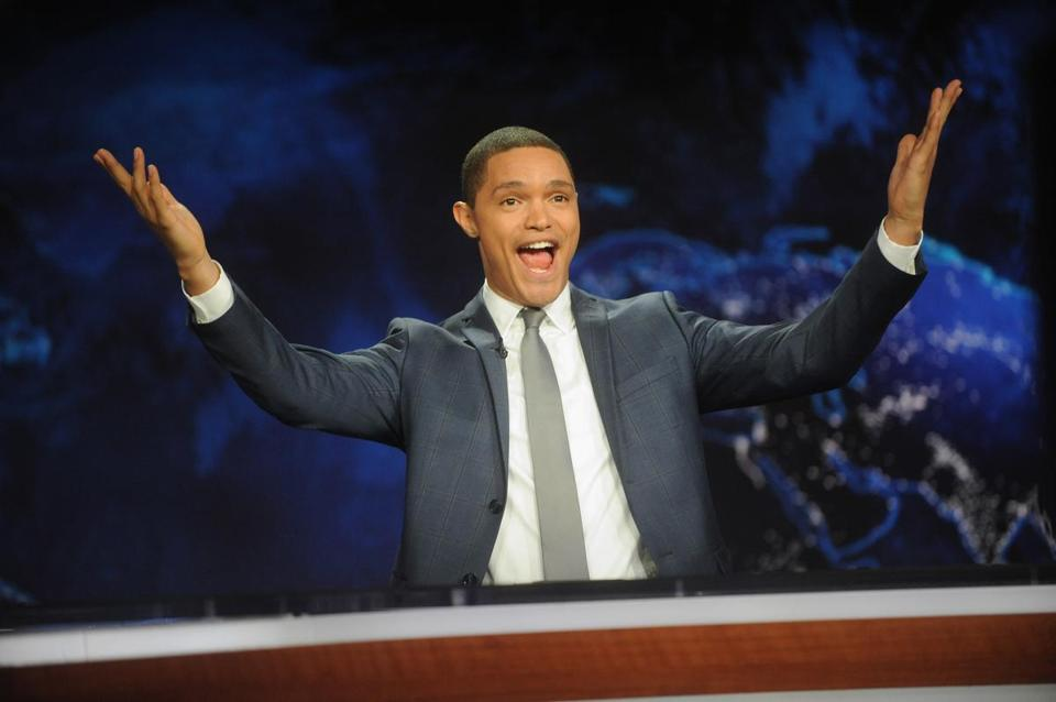 Trevor Noah reacted Monday while hosting the debut of The Daily Show with Trevor Noah.""