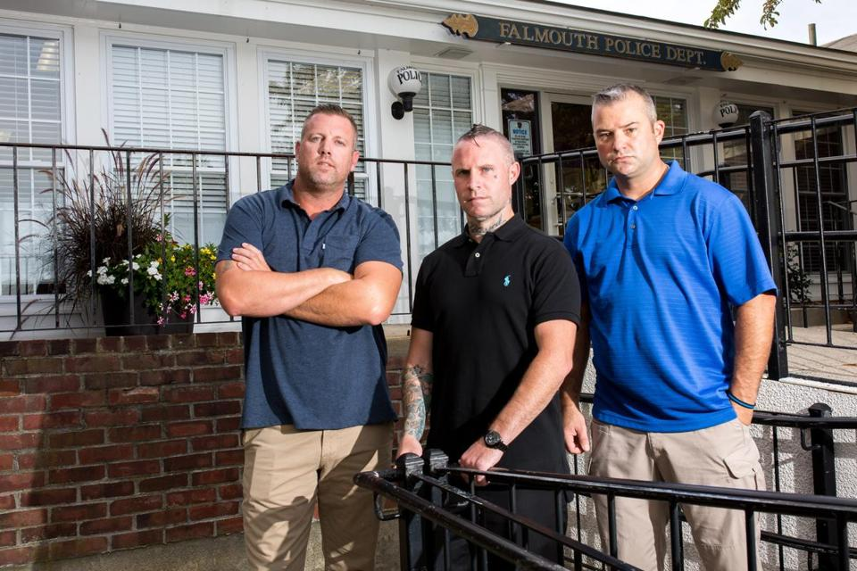 From left: Gosnold center's Brendan Gettings and Kristoph Pydynkowski have been working with Falmouth Police Sergeant Michael Simoneau to bring addicts to treatment.