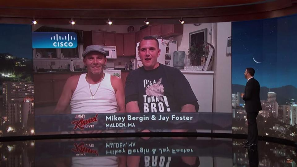 "Malden fishermen Michael Bergin and Jason Foster appeared on ""Jimmy Kimmel Live!"" Tuesday evening."