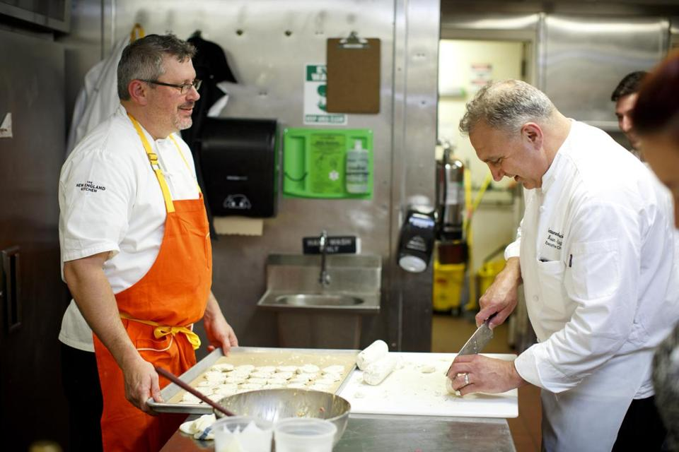 Chef Jeremy Sewall (left), with Bravo executive chef Brian Flagg.