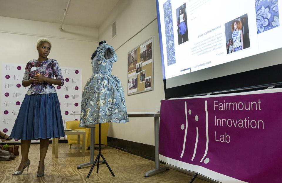 Joelle Jean-Fontaine, a fashion designer with Haitian roots, recently won a $500 prize from the Fairmount Innovation Lab.