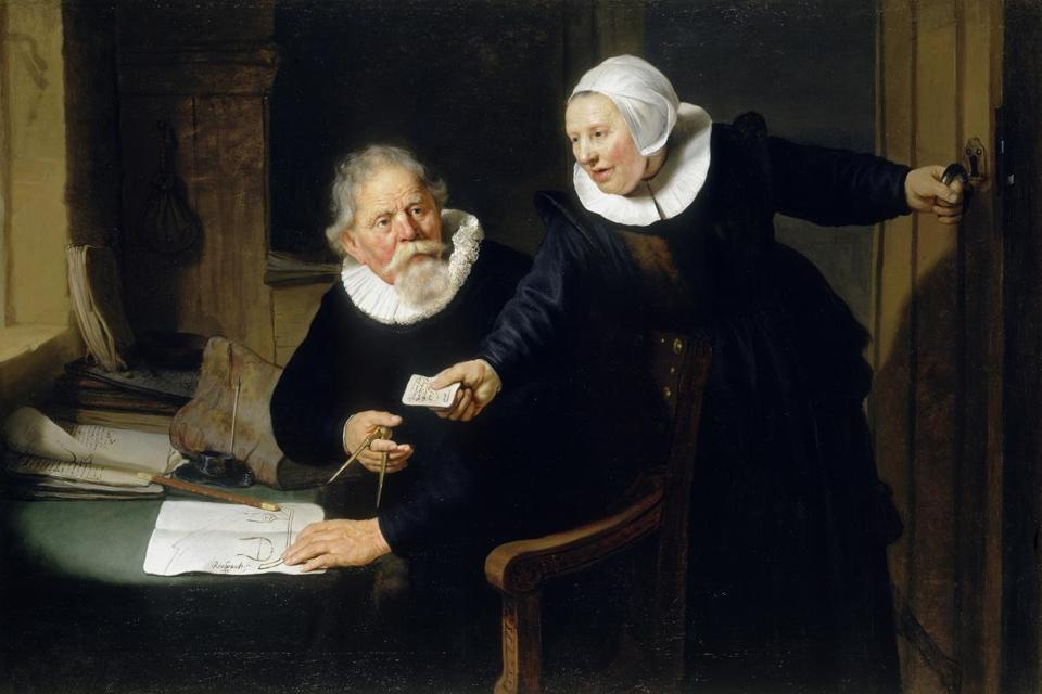"Rembrandt's ""Jan Rijcksen and His Wife, Griet Jans,"" known as ""The Shipbuilder and His Wife,"" on view as part of the Class Distinctions: Dutch Painting in the Age of Rembrandt and Vermeer"" show at the Museum of Fine Arts."
