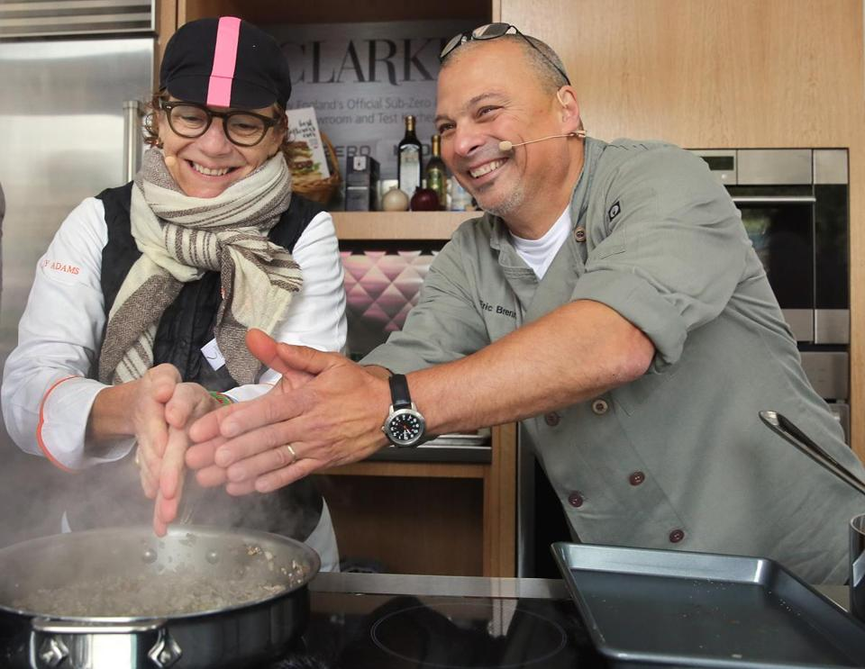 "Chefs Jodi Adams and Eric Brennan warmed their hands at a meatball competition during ""Let's Talk About Food "" festival in Copley Square."