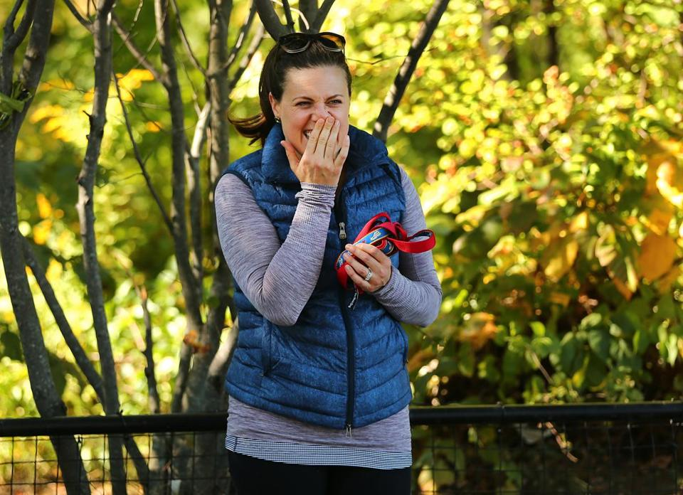Jess Kensky laughed while on her 2-mile walk.