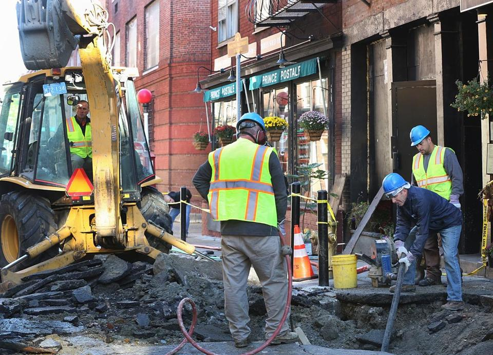 Workers from the Boston Water and Sewer Commission repaired a broken water main on Prince Street in the North End on Tuesday.