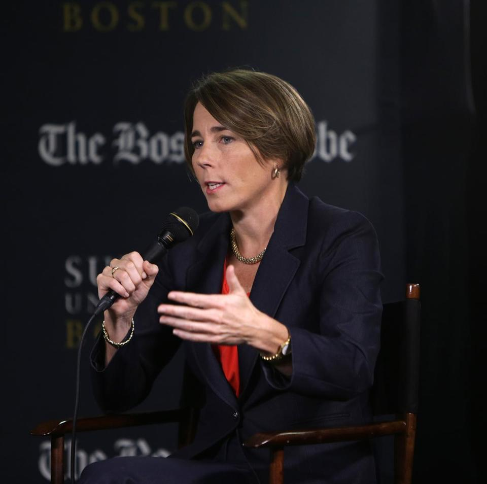 Attorney General Maura Healey took part in the Boston Globe's Political Happy Hour series last month.