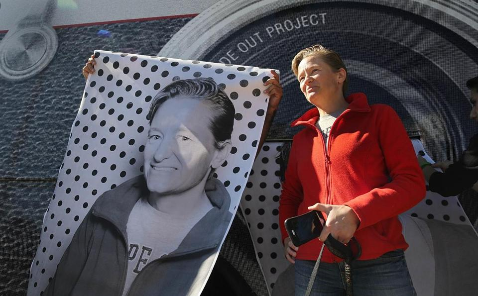 Ellen Wells of Roxbury posed for a picture next to a giant xerox print of herself.