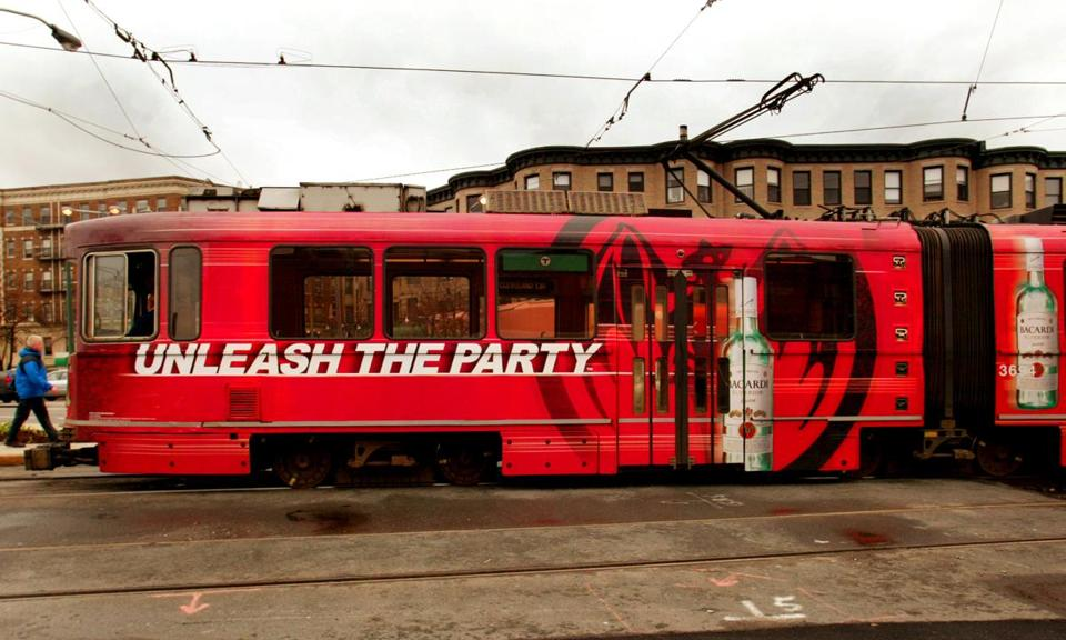 This T ad for Bacardi rum dates to 2007.  Alcohol ads have been banned on the T since 2012, and the board previously passed on reintroducing them that same year.