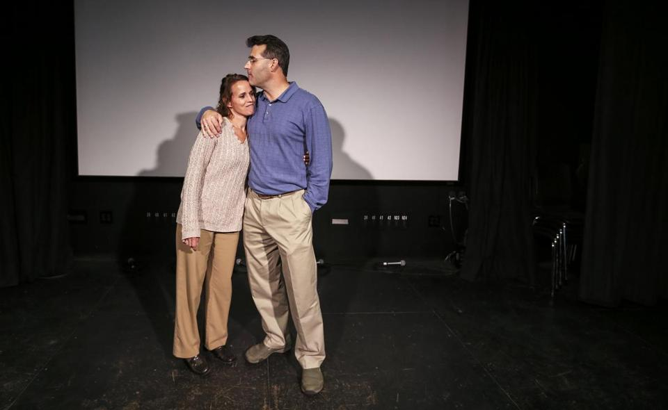 Ken and Danielle Lambert shared a moment earlier this month before a screening of the documentary they helped produce in Portsmouth, N.H.