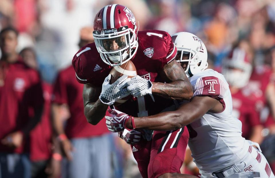 Tajae Sharpe already has the UMass record for career receptions and is closing in on other marks.