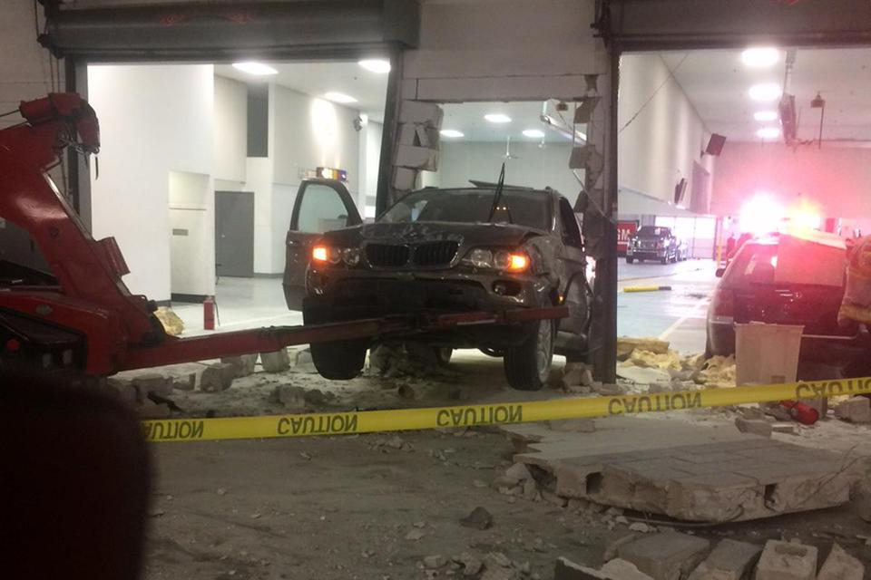 The SUV hit an interior cinder block wall.