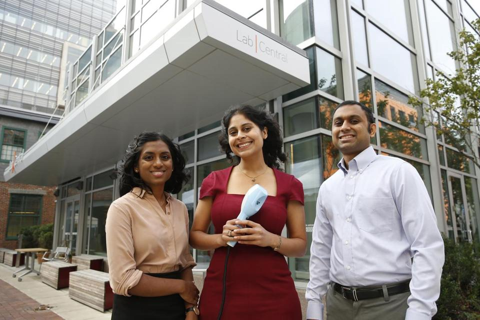 Novopyxis's Droplette streams tiny droplets of medication that can be absorbed more readily through pores in the skin. Company cofounders Madhavi Gavini, Rathi Srinivas, and Raja Srinivas (from left) started work on their device in Gavini's home.