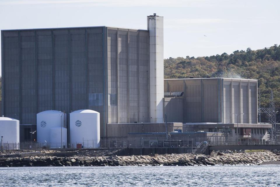 The Pilgrim Nuclear Power Station, as seen from the sea in Plymouth.