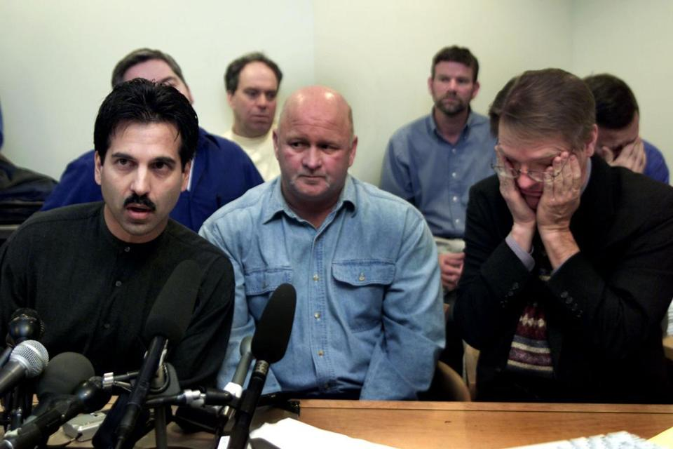 From left, Phil de Albuquerque of Speak Truth to Power; Rodney Ford, father of an alleged abuse victim; and David Clohessy of Survivors Network of those Abused by Priests. The group addressed the media yesterday in Boston during the release of documents at a Boston law firm.