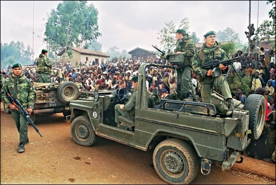 Hutus welcomed French marines on July 3, 1994, as they drove through a refugee camp in Rwanda. Hundreds of thousands of Rwandans were killed by the Hutu that year.