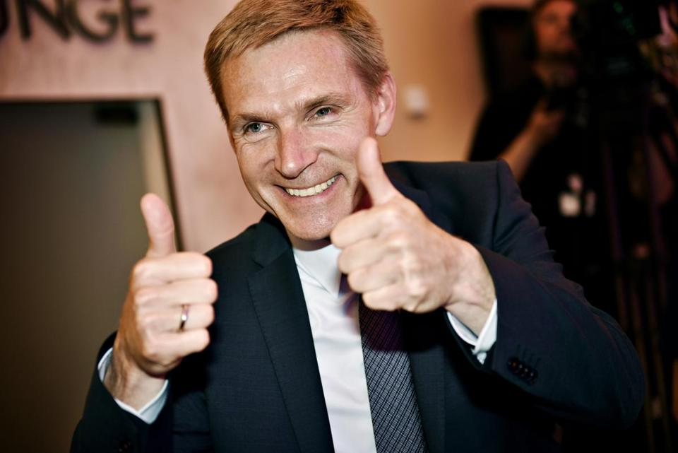 Kristian Thulesen Dahl, party leader of the Danish Peoples Party, celebrated after the election in Copenhagen in June.