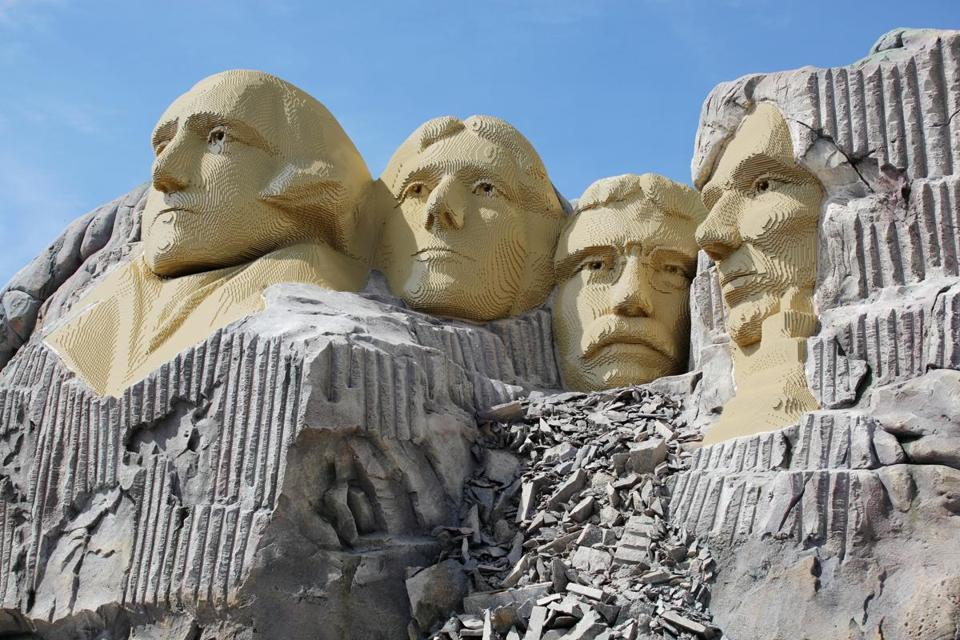 Mount Rushmore built out of Legos at Legoland Resort in Billund, Denmark.