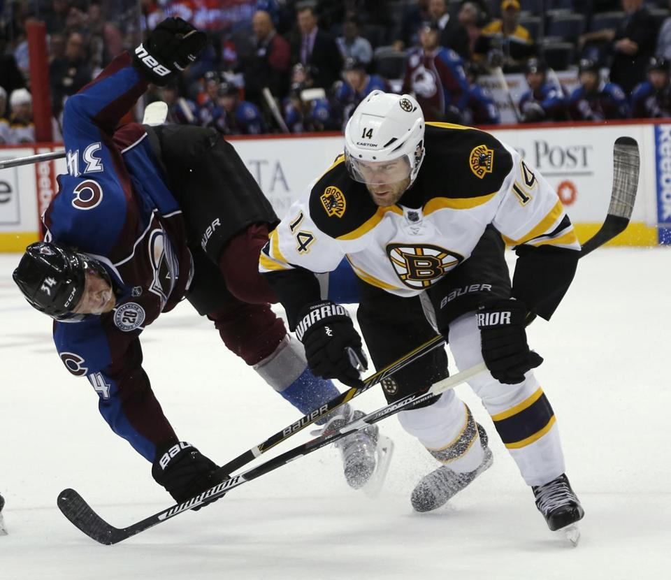 Boston Bruins right wing Brett Connolly, right, collides with Colorado Avalanche center Carl Soderberg, of Sweden, during the third period of an NHL hockey game Wednesday, Oct. 14, 2015, in Denver. Boston won 6-2. (AP Photo/David Zalubowski)
