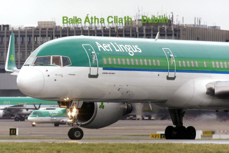 The incident happened aboard an Aer Lingus flight from Lisbon, Portugal, to Dublin Airport. Above: An Aer Lingus plane taxied before takeoff from Dublin Airport.