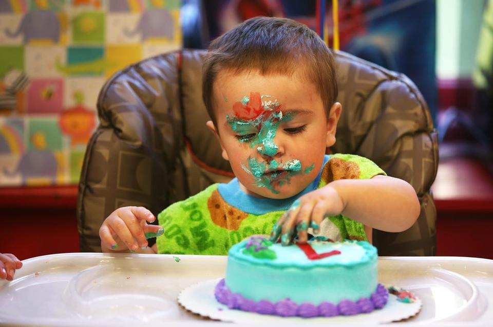 Andre DeCorzo Jr Concentrated On His Smash Cake During Birthday Party At