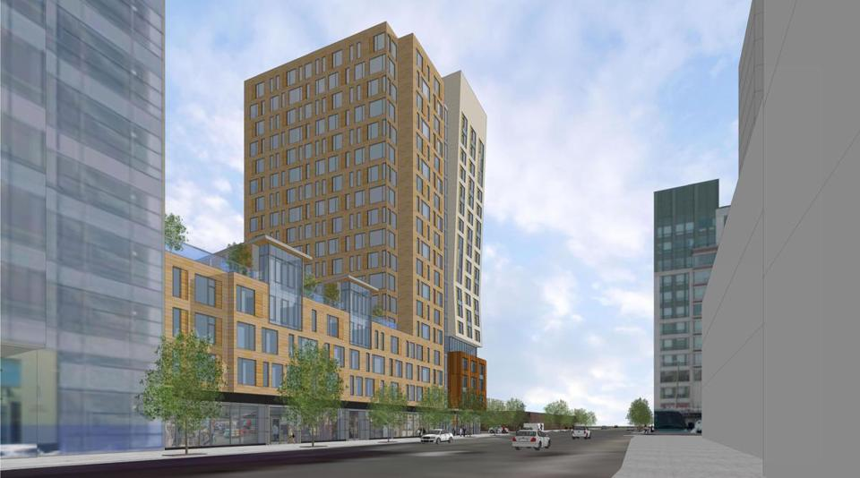 21fenway - Rendering of a planned apartment building at 1350 Boylston  Street. (ADD,