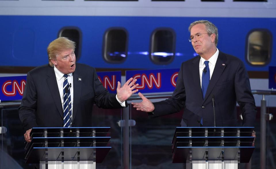 Donald Trump and Jeb Bush sparred during the CNN Republican presidential debate in September.