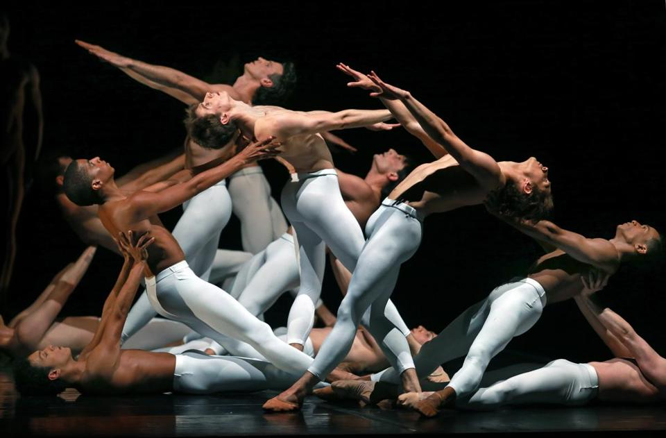 "Dancers in dress rehearsal for Boston Ballet's performance of ""Third Symphony of Gustav Mahler: A Ballet by John Neumeier."""