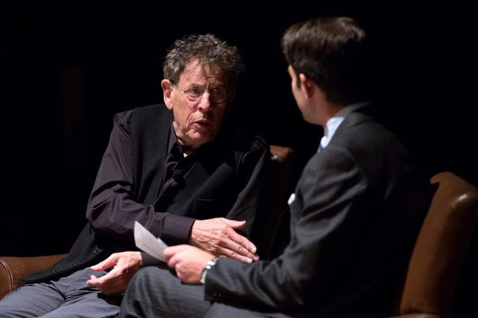 Philip Glass, pictured recently speaking at the Museum of Fine Arts.