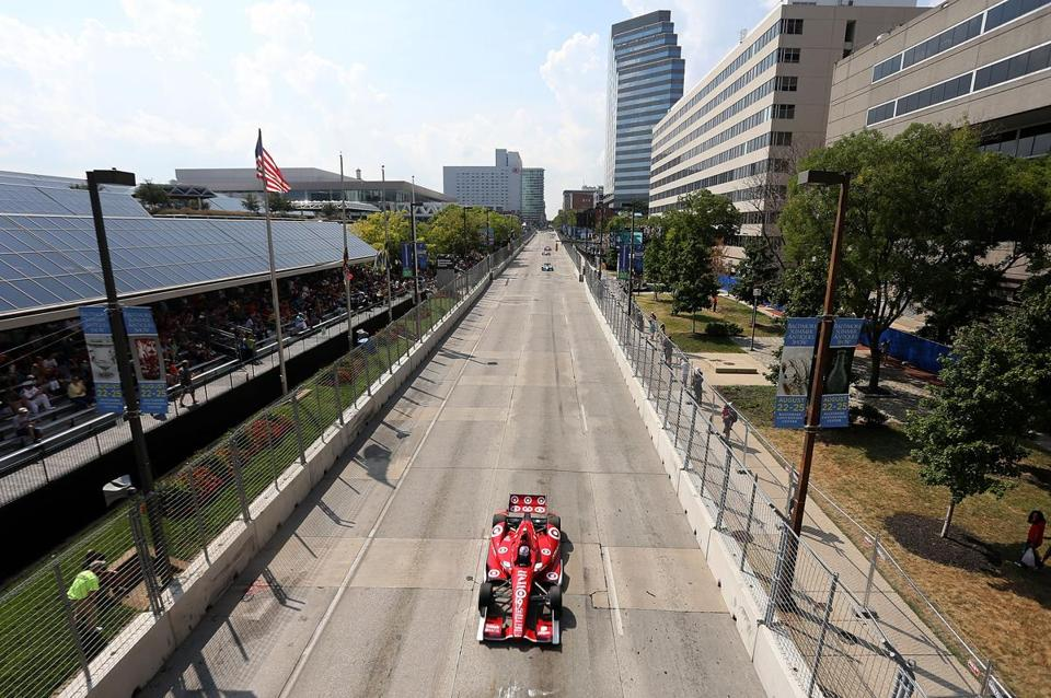 A lone car led the field during the Grand Prix of Baltimore in 2013.
